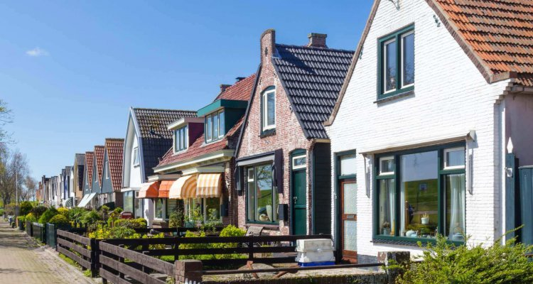 Village Oudeschild with a row of  trraditional fisherman houses on Texel island in the Netherlands