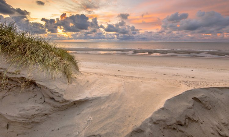 Sunset View on North Sea and Canal fom dunes in Zeeland, Netherlands