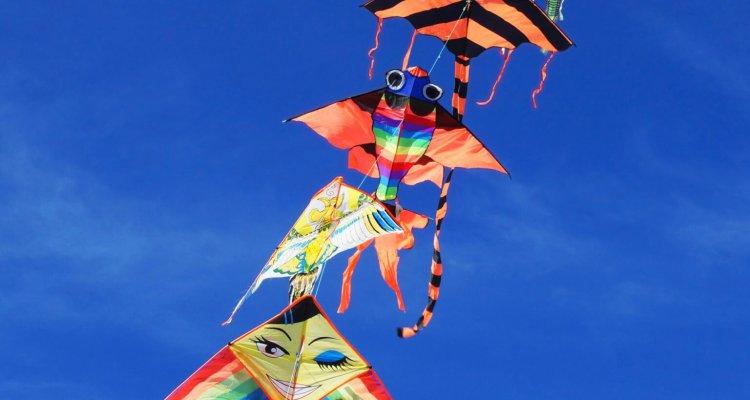 Kite in blue sky.